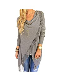 Women's Cardigan Asymmetric Tassel Hem Crew Neck Shawls Wraps Coat Outwear