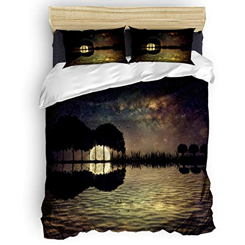 Yogaly Home Bedding Set 4 Pieces King Size for Adults/Teens/Children/Baby Moon Night Tree Lake Reflection Printed Bed Sheets, Duvet Cover, Flat Sheet, Pillow Covers