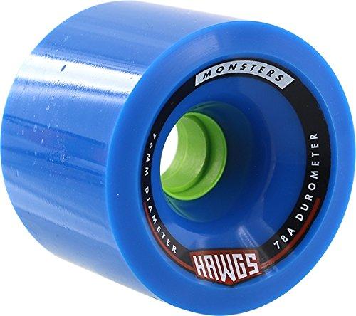 Hawgs Monster Blue Longboard Wheels - 76mm 78a (Set of 4) (Hawgs Longboard Wheel)