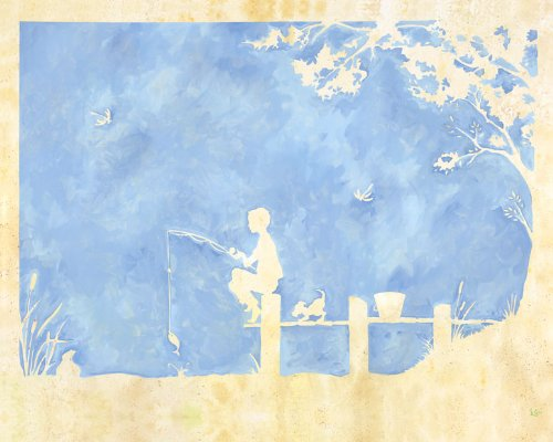 Oopsy Daisy Toile Boy Gone Fishing Stretched Canvas Wall Art by Heather Gentile-collins, 30 by (Blue Toile Canvas)