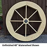 Amish-Made Decorative Waterwheel – 48″ Diameter, Oak Stain For Sale
