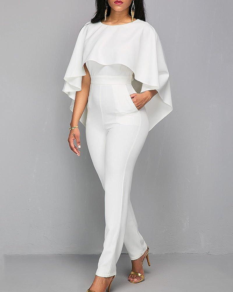 Tuta Elegante Pantaloni Lungo Jumpsuit Sottile Senza Schienale Rompers Cerimonia da Donna