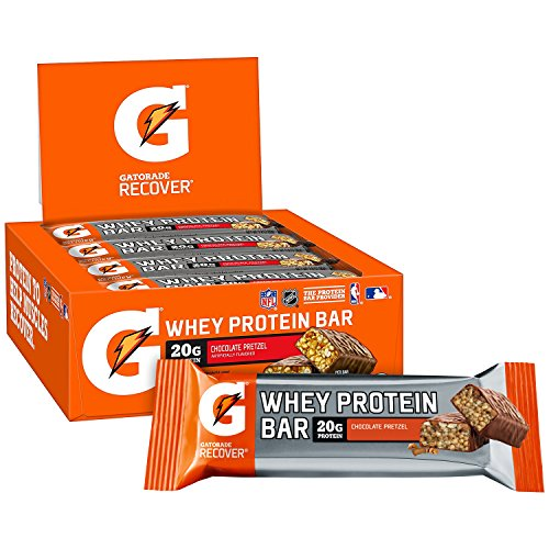 Gatorade Whey Protein Bars, Chocolate Pretzel, 2.8 oz bars (Pack of 12, 20g of protein per bar)