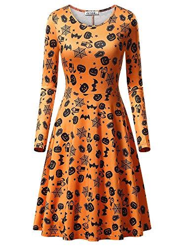 Cute Simple Halloween Outfits (VETIOR Orange Dress, Women's Halloween Bat Cobweb Pumpkin Print Causal Dress 17049-8)