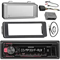 Kenwood KDC118 Stereo CD Receiver Radio - Bundle with Installation Dash Kit + Handle Bar Control Module + Weathershield Cover + Enrock Wire Antenna for 1998 2013 Harley Touring Motorcycle Bikes