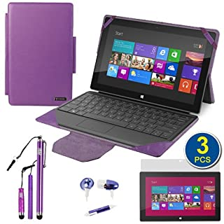 BIRUGEAR Purple 2-in-1 Leather Keyboard Portfolio Stand Case