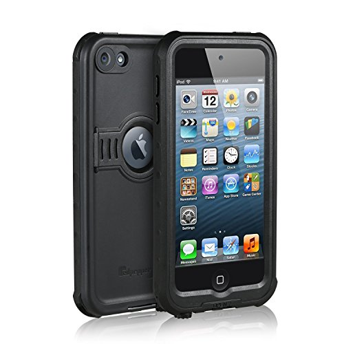 Waterproof Case for iPod 6/iPod 5, Merit Knight Series Waterproof Shockproof Dirtproof Snowproof Case Cover with Kickstand for Apple iPod Touch 5th/6th Generation (Black)