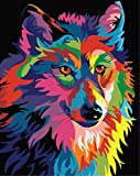 Golden Maple DIY Digital Canvas Oil Painting Gift for Adults Kids Paint by Number Kits Home Decorations- Colorful Wolf 16*20 inch
