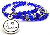 Chubby Chico Charms I Love Abuela Child Handwriting Bicone Crystal Wrap Bracelet in Sapphire Blue