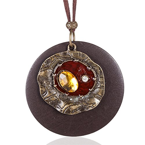 Coostuff Beautiful Brown Handmade Wood Vintage Pendant Jewelry Long necklace for women