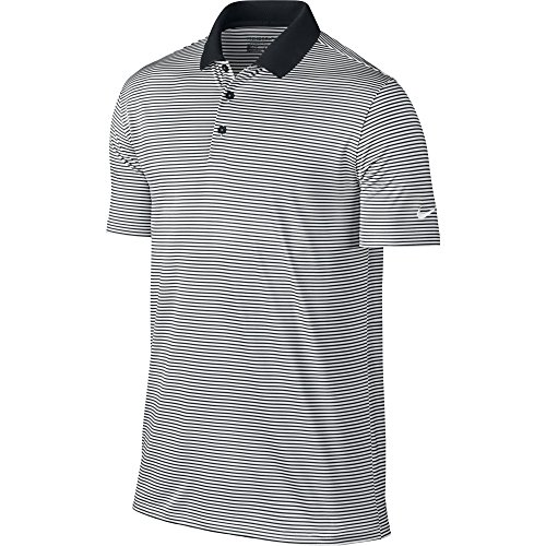 (NIKE Men's Dry Victory Stripe Polo, Black/White, Large)