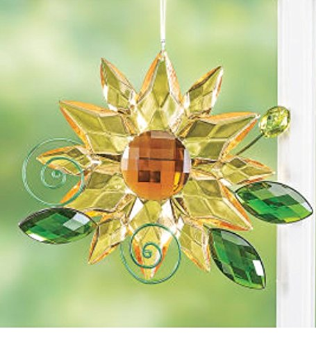 (Ganz Crystal Acrylic 6 Inches Medium Sunflower Hanging Ornament with Leaves)