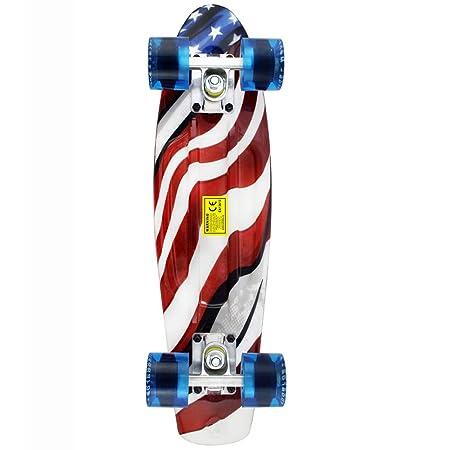 MEKETEC Skateboards Kids Mini 22 inch Cruiser Beginner Skateboard Boys Board for Girl Youth Children Toddler Teenagers Adults Patinetas Dog (American Flag)