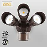 30W 3-Head Motion Activated LED Outdoor Security Light, Photo Sensor, 3 Modes, 150W Halogen Equivalent, 3000K Warm White, 2200lm Floodlight, for Entryways, Patios, Decks, Stairs, Bronze