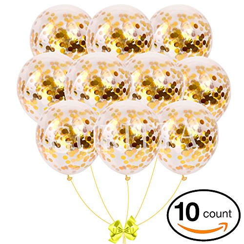 Guritta Confetti Balloon Gold 18-inch Confetti Balloon Set| 10 Quality Packs, Party Balloons for Party Decorations, Weddings, Birthdays, Baby Showers, Valentine's Day, Proposal, New Year