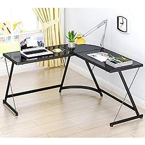 SHW L-Shaped Home Office Corner Desk Glass Top