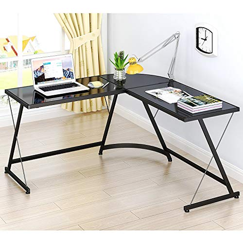 SHW L-Shaped Home Office Corner Desk Black Glass Computer Desk