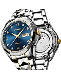Swiss Automatic Watches for Men Blue Dial,Tourbillon Mechanical Watch,Mens Diamond Watch,Stainless Steel Japanese...