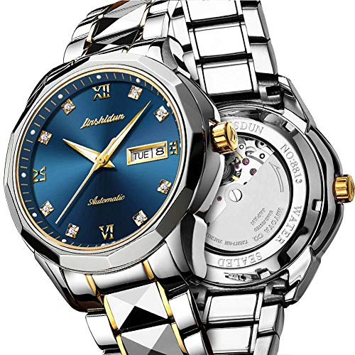 Date Diamond Wrist Watch - Swiss Automatic Watches for Men Blue Dial,Tourbillon Mechanical Watch,Mens Diamond Watch,Stainless Steel Japanese Mechanical Watches with Date,Mechanical Automatic Sapphire Watch