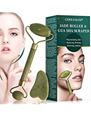 Jade roller Massager, rulli di giada per viso e collo,Gua Sha Scraping,Massaggiatore Viso e Gua Sha Scrap Set Bellezza che dimagrisce Terapia per la pelle Ringiovanire