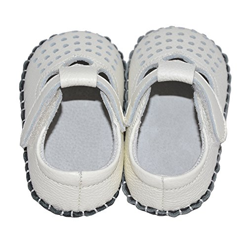 Bumud Baby's Cutout Soft Sole Genuine Leather Flats Infant Toddler Prewalker Shoes (0-18 Month) (15-18 Months, White) by Bumud (Image #2)