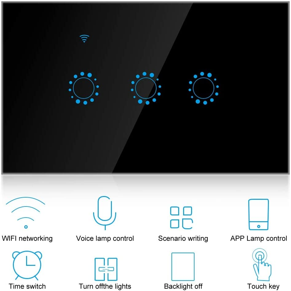 WiFi Smart Touch Panel Light Switch, Smart Switch Support Voice Control Phone APP Control Touch Control with Timing Function for Smart Home(Black)