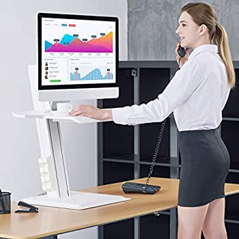 NB North Bayou Sit-Stand Workstation Laptop Sit Stand Desk Converter Fits All Laptop Computers Within 4.4-24.2 lbs(White)