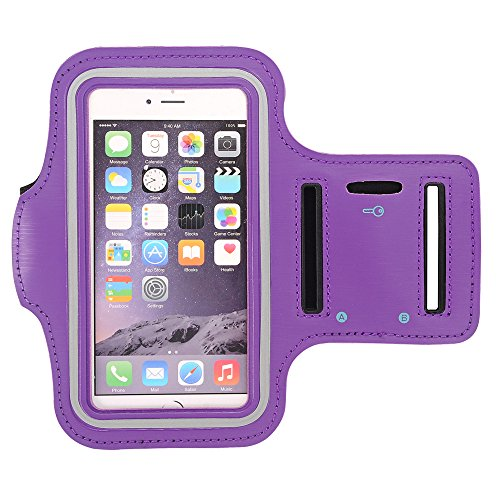 GreenElec Sport Exercise Armband for Galaxy S8/S7/S6 Edge/S5, iPhone 7/7 Plus/6/6s/6 Plus/5S/SE, LG/Sony/Motorola/HTC Huawei ZTE and Other Cellphones Up to 5.5 Inches, Purple