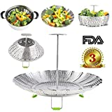 Vegetable Steamer Basket for Instant Pot Electric Pressure Cooker, Stainless Steel,Extendable Handle(7.25