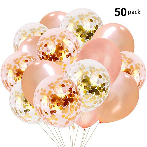 af-tigonhw Rose Gold Confetti Balloons 50 Pack, 12 Inch Latex Party Balloons for Birthday Party, Bridal Shower, Baby Shower, Weddings, Engagements Party Supplies 2019 - Inch Rose Shower 12