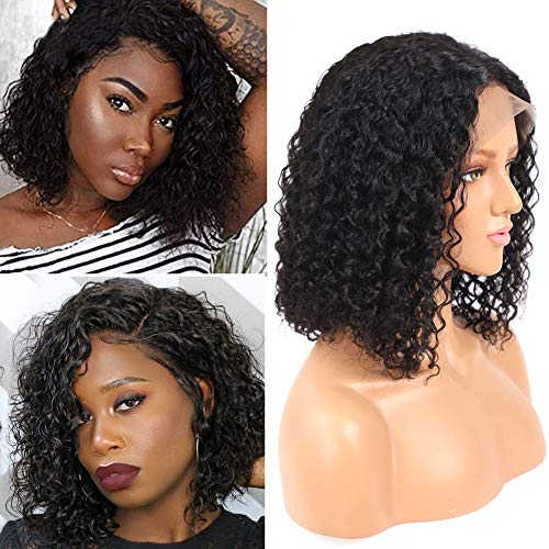 Tuneful Jerry Curl Bob Human Hair Lace Front Wigs with Baby Hair Brazilian Curly Lace Wig for Black Women 130% Density 13x4 Pre Plucked Lace Wigs 10 inch