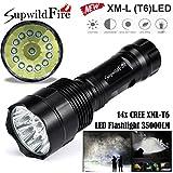 LED Flashlight ,Tuscom Super Bright 3000/9000/10000/11000/12000/13000/14000 Lm XM-L T6 LED 5-Mode 18650 Flashlight Torch Light Lamp (14x XM-L T6 LED/14000Lm)