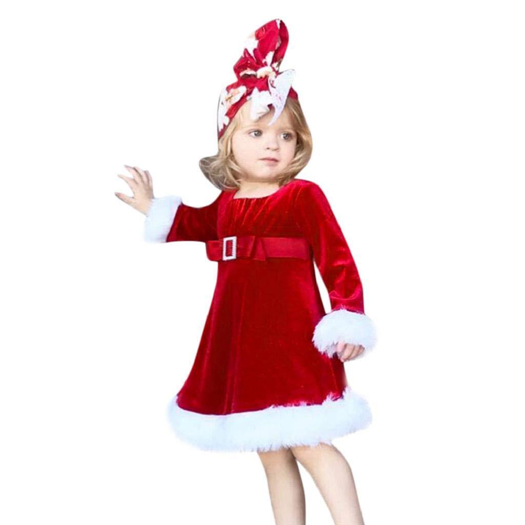 VICGREY ❤ Christmas Vestiti del Costume, Bambini Natale Principessa Vestito Birichino Abiti Vestito Cosplay per Ragazze Abito di Natale Bambina Cappotto Bambina Invernale