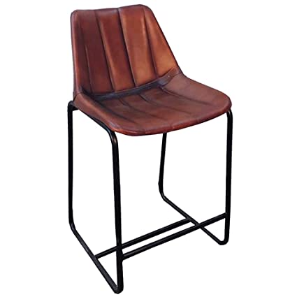 TEXANDECOR Industrial Dining Chair Home Furniture Chairs Roadhouse Brown Leather  Chair