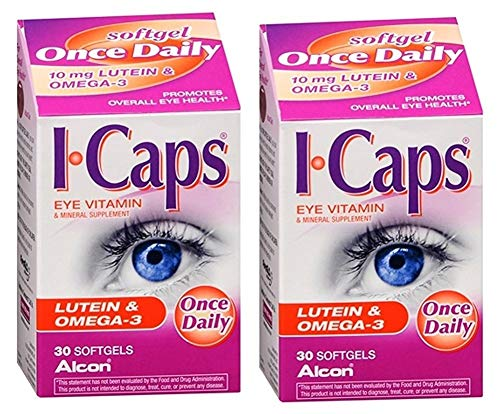 Icaps Lutein and Omega-3 Eye Vitamin and Mineral Supplement, 2Pack 60 softgels Total (Expire 09/2017)...