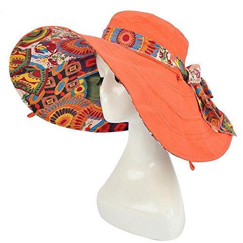 Ezyoutdoor Women's Reversible Sun Visor Hat Foldable Beach Hat UPF 50+ Wide Brim Floppy Hat Summer Beach Cap Sunscreen Wide Floop Brim Hat ()