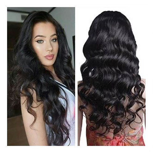 Mike & Mary Lace Front Human Hair Wigs for Black Women Body Wave Top 7A Virgin Brazilian Hair Wigs Free Part with Baby Hair (16inch, #1b Off Black) by Mike & Mary