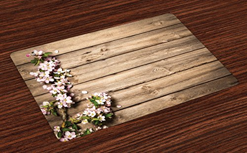 Ambesonne Rustic Place Mats Set of 4, Spring Flowering Tree Branch on Weathered Wooden Blooming Orchard Image, Washable Fabric Placemats for Dining Room Kitchen Table Decor, Pink Brown