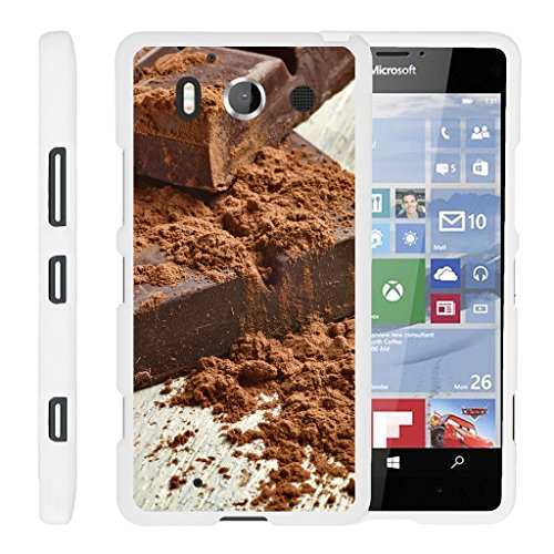 (TurtleArmor | Microsoft Lumia 950 Case [Slim Duo] Hard Lightweight PC Plastic with Rubberized Coating 2 Piece Cover Shell on White Food Image - Milk Chocolate Bar)