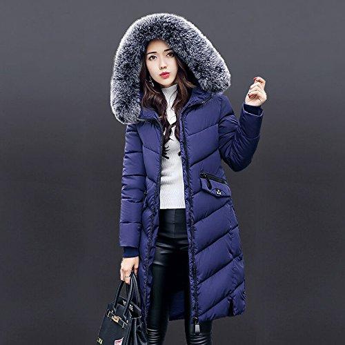 Zipper Down Big COAT Coat DYF Size Blue Jacket Warm Pocket Solid FYM Hat Color Loose L Wg4fvW