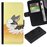 Cute Running Cat Japanese Colorful Printing Holster Leather Wallet Case Pouch Skin Case Cover With ID Credit Card Slots For Samsung Galaxy S3 MINI / I8190 / I8190N (Not For Galaxy S3!!!)