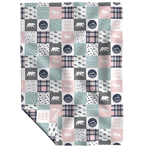 Wholecloth Fleece Throw Blanket - Camping Adventure Moose Pink Bear Dusty Blue by Littlearrowdesign - 48 x 70in