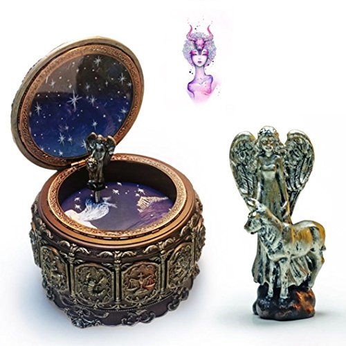 HANYI Vintage Mechanical Classical Collectible Translucidus Music Box with Twelve constellations, Plays Castle in the Sky - Taurus by HANYI