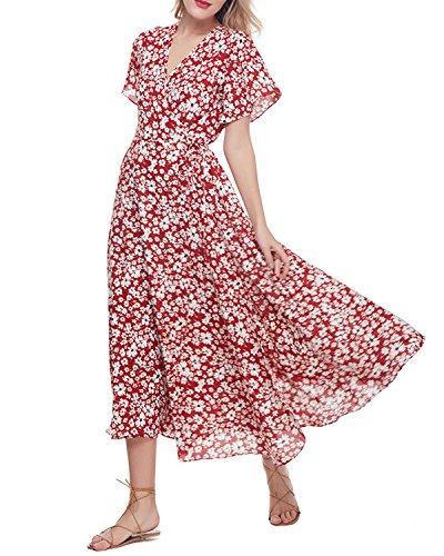 Cruz Cuello S Mangas de Playa Vestido Coratas de Mujer Floral Azaul GAMISS Vestidos y Fiestas y Rojo 2XL Rojo Impresión qwIXSBx