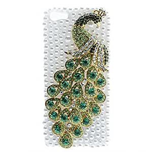 Mira Diamond Peacock patr¨®n duro caso con luz de flash para iPhone 5