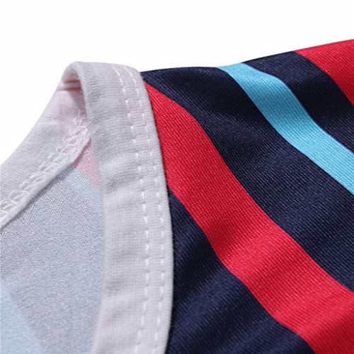 Mens Casual Stripe Patchwork Short SleevedSlim Fit T Shirts Top Blouse (M, Red) by chuxin huang (Image #5)