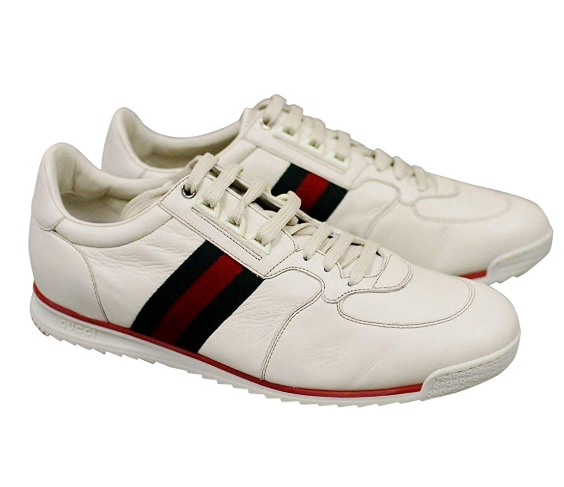66a2a61933f Amazon.com  Gucci White Leather Running Shoes Sneakers 243825  Shoes