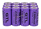 12x 3.7V CR123A 16340 2300mAh Purple GTL Rechargeable Battery Cell Flashlight
