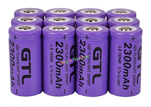12x 3.7V CR123A 16340 2300mAh Purple GTL Rechargeable Battery Cell Flashlight by