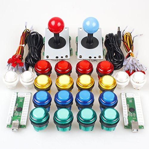Kombat Kit (EG STARTS Classic Arcade DIY Kit Parts 2x USB LED Encoder To PC Consols Games + 2x 4/8 Ways Joystick + 20x 5V Illuminated Push Buttons For Mame Jamma ( Red / Blue Stick + MIX Color Buttons))